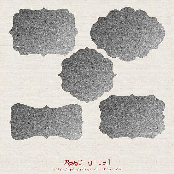 5 Silver Digital Frames Digital Labels Clipart - Instant Download {frames, labels, tags, clipart, clip art}