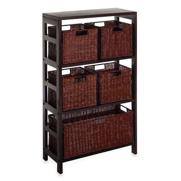Pics On Leo Tier Shelf with Wire Frame Baskets