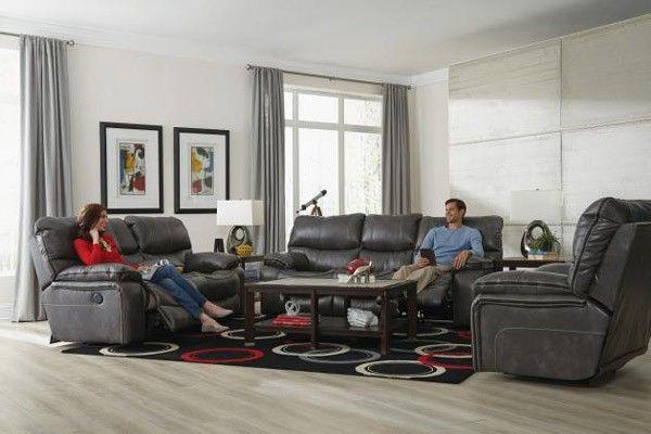 Catnapper - Camden 3 Piece Power Lay Flat Reclining Living Room Set in Steel - 64081-64089-64080-7-1152-78/1252-78