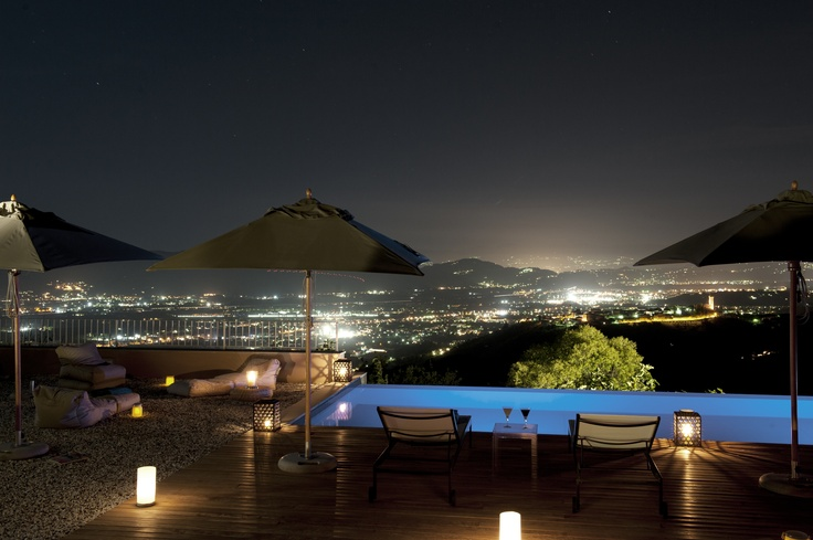 Valley view at night from the pool