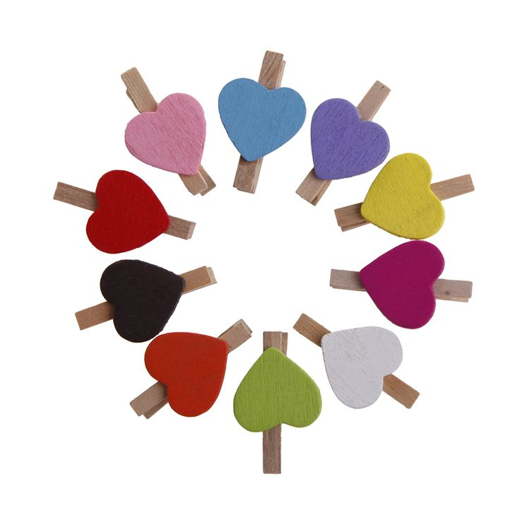 10Pcs Mini Hearts Wooden Pegs Clips Photo Craft Wedding Party Decor Decoration