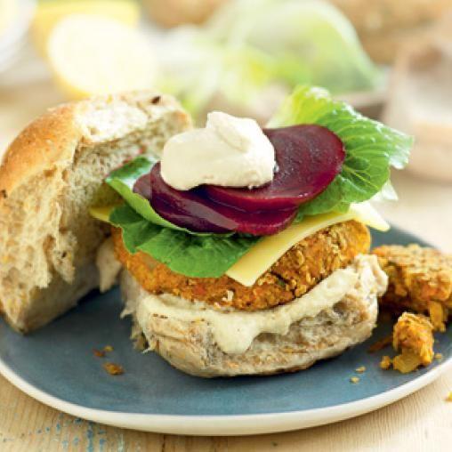 Chickpea, vegie and coriander burgers