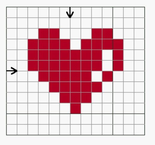 Love heart, easy cross stitch pattern!