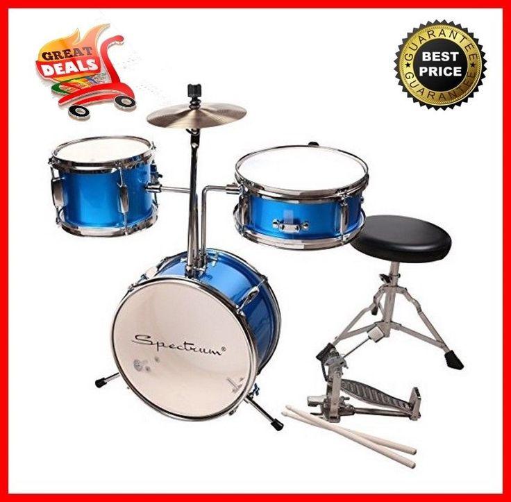 3 pcs Child Junior Drum Set +Cymbal+Throne Blue Snare Drum Spectrum AIL 620B New #Spectrum
