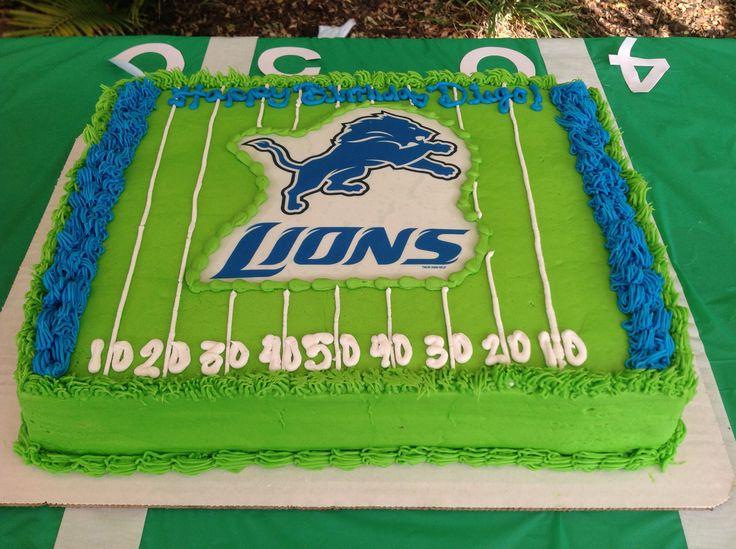 Detroit lions football field cake
