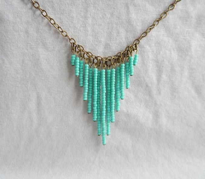 Seed Bead Pendant Necklace made by Eileen McRory from LC.Pandahall.com