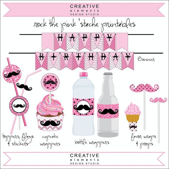 Pink Mustache Party  Birthday Party by CreativeElementsDS on Etsy