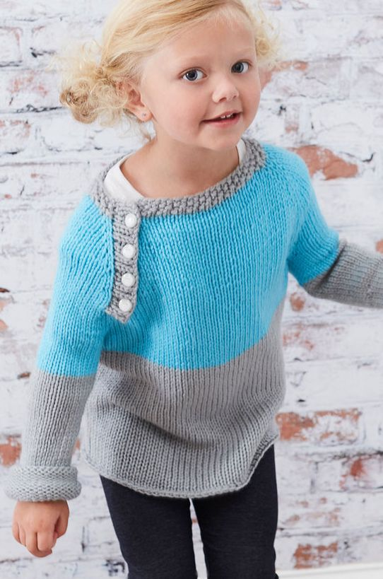Free Knitting Pattern for Easy School Days Raglan Pullover - Color block long sleeved sweater with buttons on yoke for easy dressing. Sizes 2 years to 10 years. Designed by Marly Bird