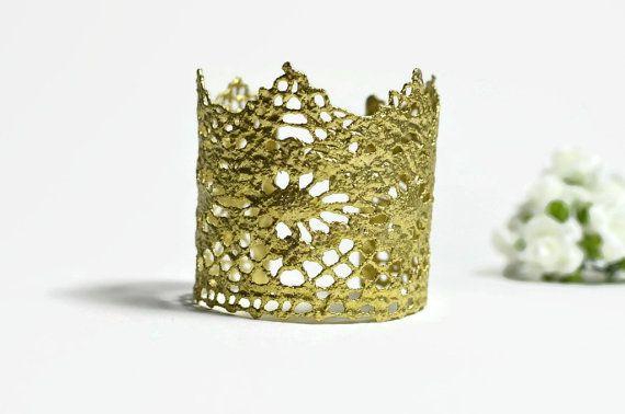 Gold bracelet lace bracelet cuff  statement cuff gold by MyElesi