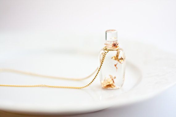 Resin Pendant Perfume Bottle with Gold Flakes Gold by daimblond