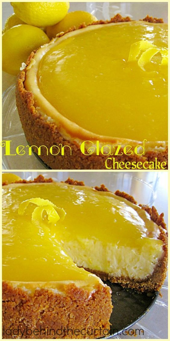 Lemon Glazed Cheesecake   One slice is never enough of this Lemon Glazed Cheesecake. The rich filling and golden glaze will tempt your taste buds!