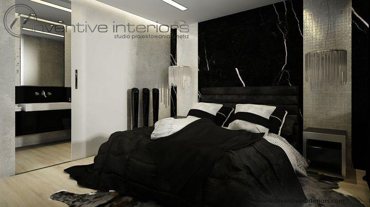 Projekt sypialni Inventive Interiors - ekskluzywna ciemna sypialnia - czarny marmur i masa perłowa na ścianie za łóżkiem