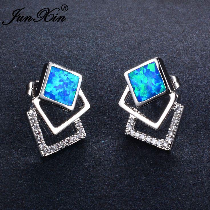Junxin 2017 mode geometrische weibliche blue fire opal ohrstecker 925 sterling silber gefüllt schmuck doppel ohrringe für frauen