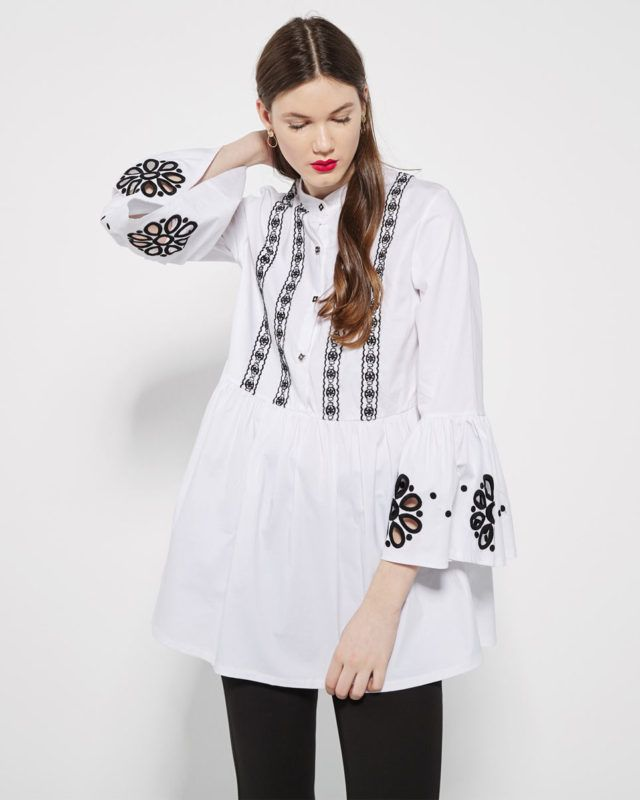 EMBROIDERED #WHITE #SHIRT WITH BLACK #FLOWERS