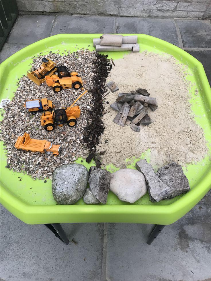 Small world construction tuff tray.
