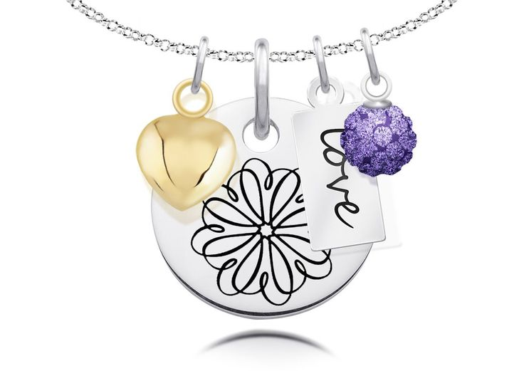 Sigma Kappa Symbol Necklace with Heart, Crystal, and Message Charm