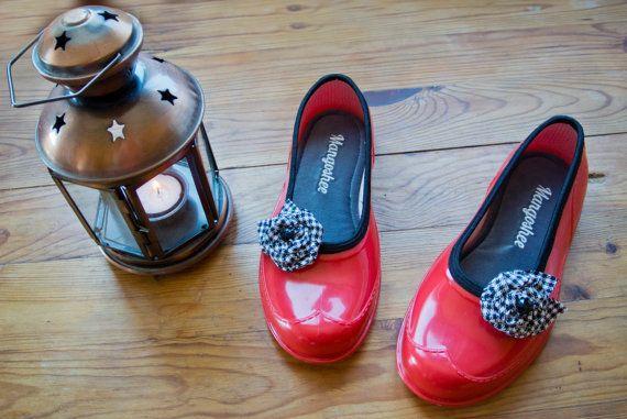 VENDITA scarpe di gomma sposa rosso donne Flats di Mangoshee