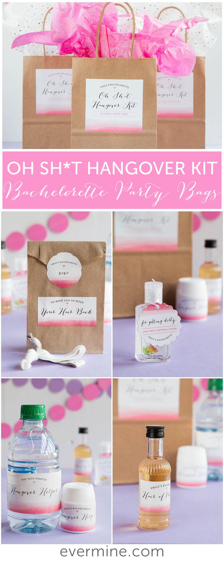 Bachelorette Party Favor Ideas | Oh Sh*t Hangover Kits | Evermine Weddings | evermine.com