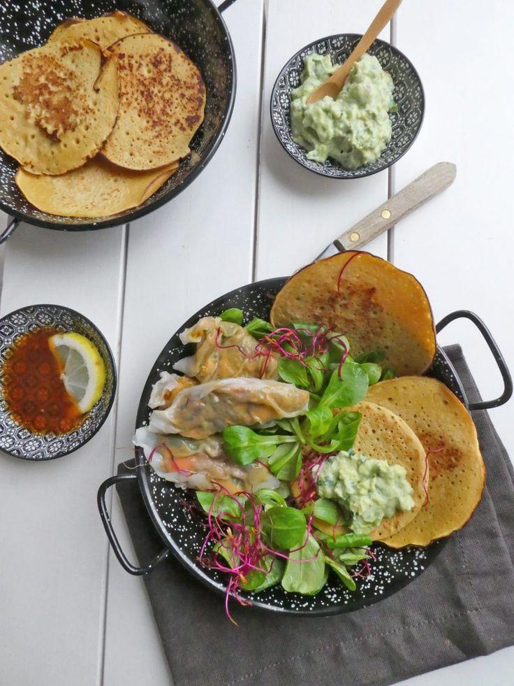 Minis cr pes la farine de pois chiche raviolis de - Cuisiner des pois chiches ...