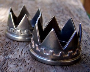 Crown rings by Buster Collins, sterling silver.