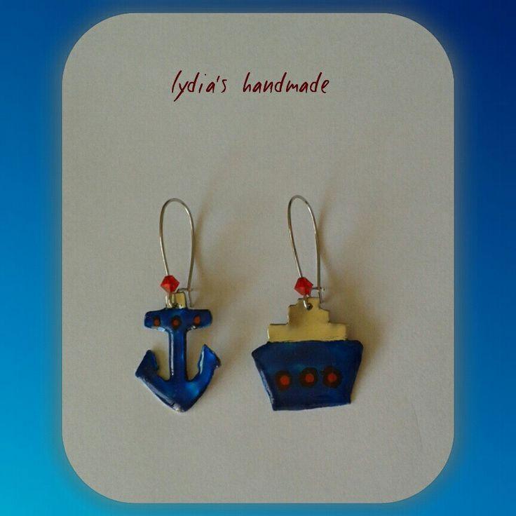 Σκουλαρίκια χειροποίητα άγκυρα και καράβι!