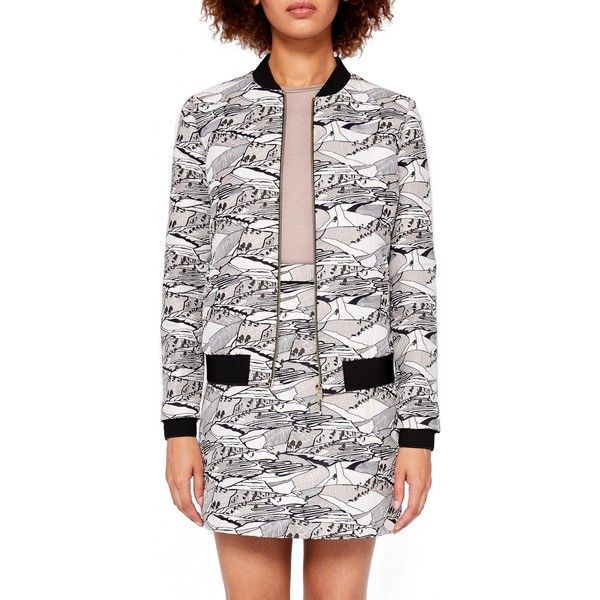 Ted Baker Colour By Numbers Bearla Print Bomber Jacket featuring polyvore women's fashion clothing outerwear jackets short jacket style bomber jacket floral-print bomber jackets zip bomber jacket flight jackets