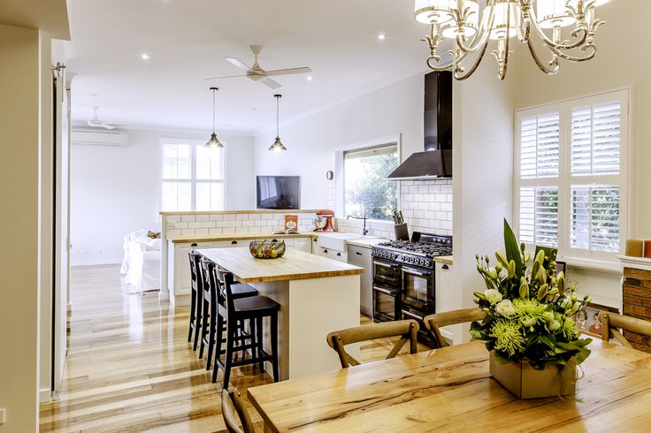 Open plan living, dining and kitchen.
