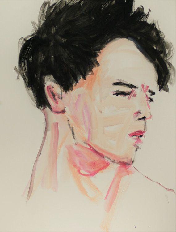Moderne Porträtmalerei  Großes Original von GalerieMiniMal auf Etsy