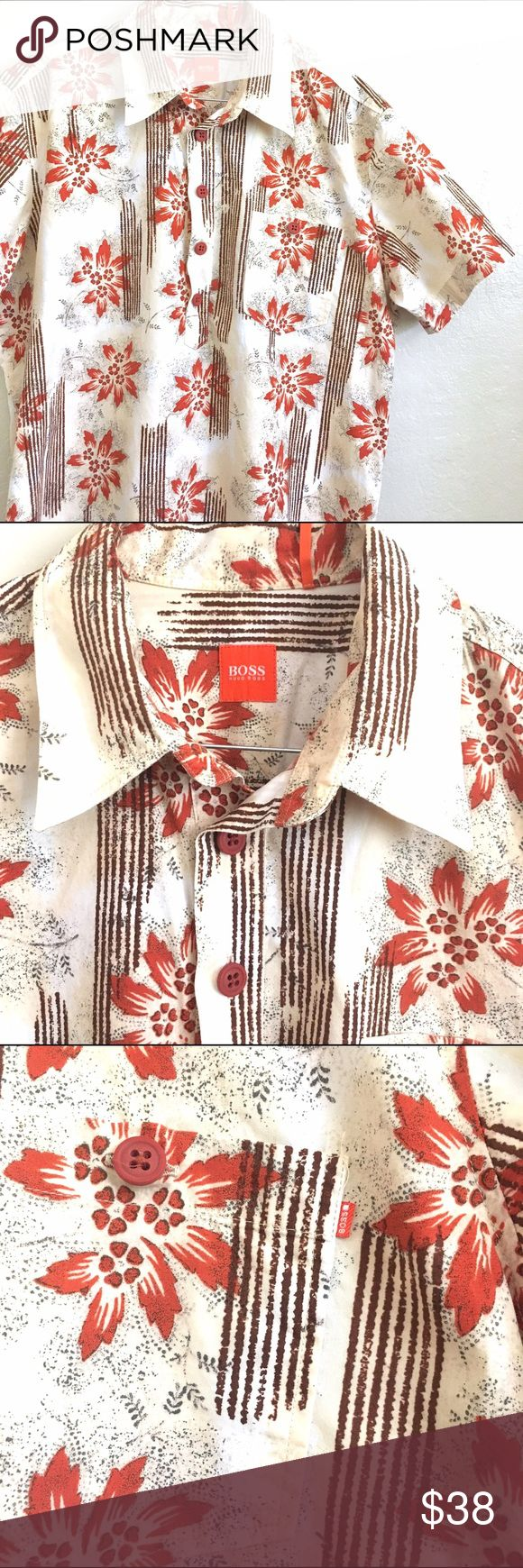 """Hugo Boss Oranger Star Floral Hawaiian Shirt Up for sale is an amazing new with out tags Hawaiian style Pullover Shirt. By HUGO BOSS. Size Large. 100 % cotton. Made in Poland. Width is 24.5"""" across and 28.5"""" in length. Pullover style with front top button up . Amazing Floral retro design. Hugo Boss Shirts Casual Button Down Shirts"""