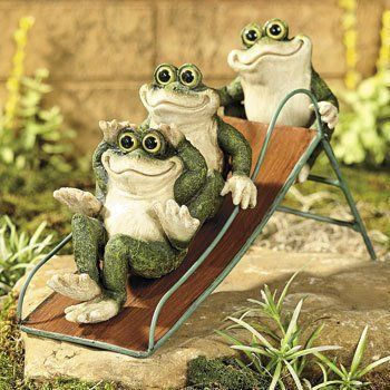 Frogs On A Slide Yard Decor Garden Statue Sculpture