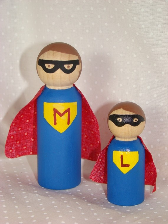 Daddy n Me Superheroes - Custom Hand Painted Wood Play Set - Maybe they could make their own with markers?