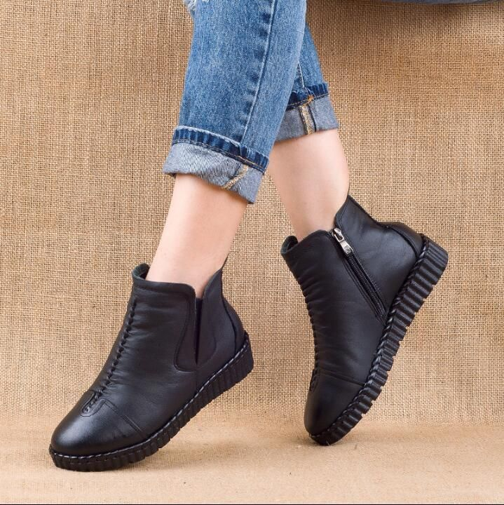 2019 Inverno Botas De Tornozelo De Couro Genuíno Artesanal Senhora Macio Sapatos Planos Confor Zapatos Para Juanetes Botas De Caballero Zapatos Mocasines Mujer