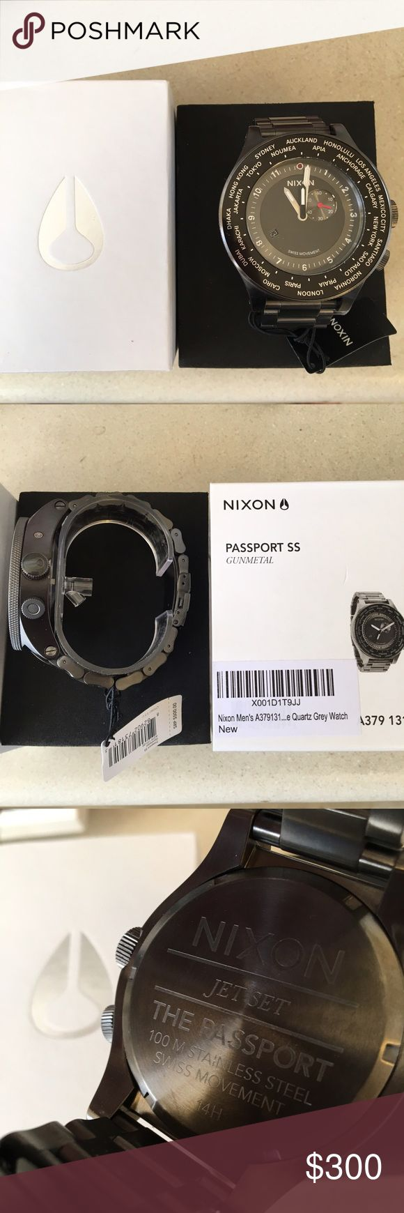 """Nixon """"Passport SS"""" Watch (New In Box) Nixon """"Passport"""" unisex Watch (NEW WITH TAGS) for $240 OBO. Color is Gunmetal with Black accents. This is a brand new watch in the box and was bought for a photo shoot by the stylist and we didn't end up using it. Open to offers. Nixon Accessories Watches"""