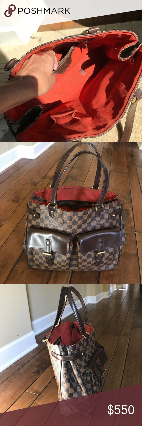 "Louis Vuitton Damier Ebene Canvas Uzes Authentic Louis Vuitton tote bag. In good condition. Spots inside(picture shown) and wear on outer corners. Dimensions 14""x12""x5""  Handle 8"" Louis Vuitton Bags Totes"