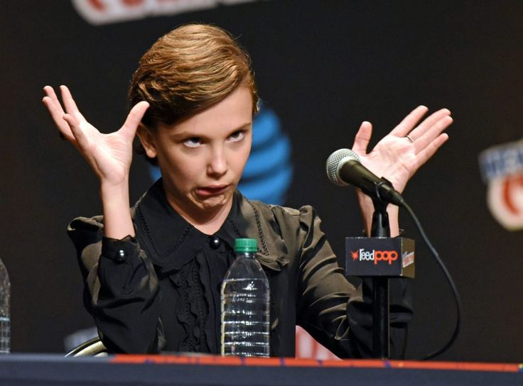 Millie couldnt help but pull faces at the crowd during the panel