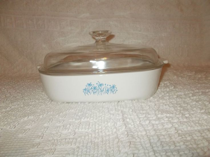 Corning Ware Sears Microwave Browning Dish With Pyrex Lid MW - 10 Blue Flowers