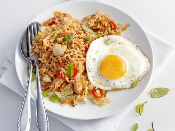 Pittige rijst met kip