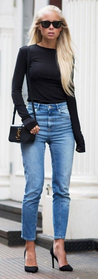 #casualoutfits #spring | Black Long Sleeve Top + High Waist Denim | Victoria Tornegren