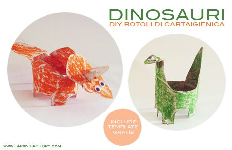MiniFactory: DIY riciclattolo - Dinosauri - tubi rotoli di carta igienica - riciclo creativo Toilet paper roll dinosaurs ricycle with free template! kids craft