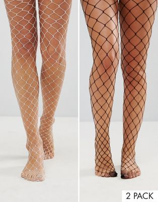 ASOS 2 Pack Oversized Fishnet Tights In Black And White