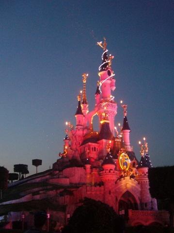 Disneyland Paris Castle at night.
