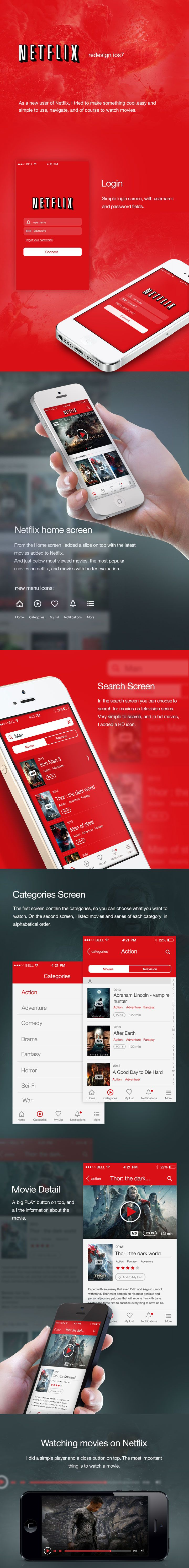 Netflix - redesign for iOS7 concept