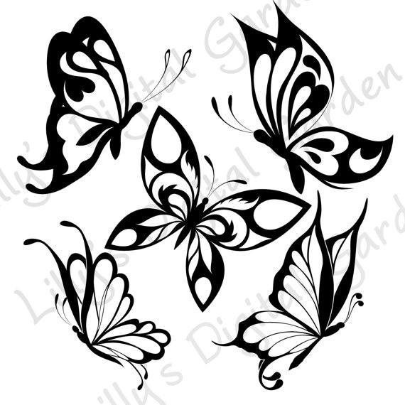 Butterfly Digital Stamps Clip Art Digital by LillysDigitalGarden, £4.00