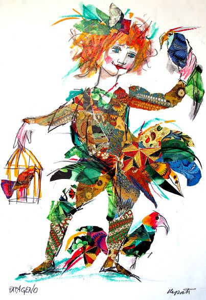 "Papageno from Die Zauberflote in the cartoon movie ""Il flauto magico"" by Emanuele Luzzati"