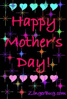 Happy Mother's Day Stars on Black Background Glitter Graphic, Greeting, Comment, Meme or GIF
