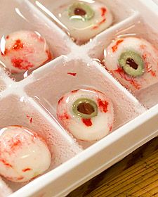 DIY halloween  radish eyeball with olive ...peel radish...leave just a little red... make small hole, put half olive ...pour water and freeze