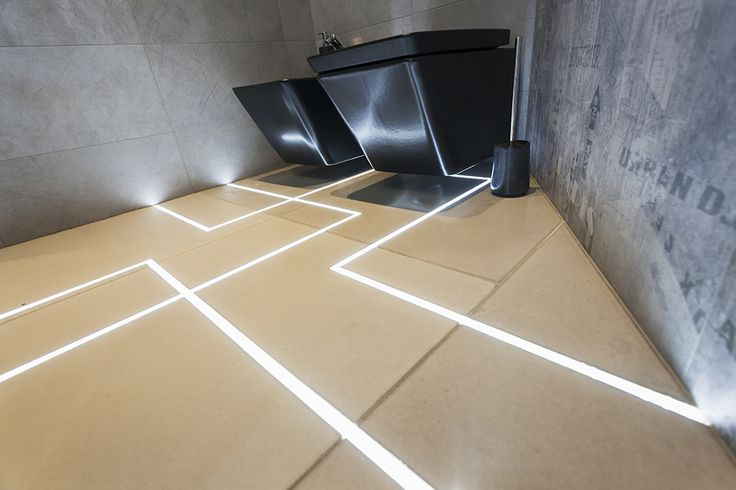MUKIline // lighting pavement element with linear graphic design and waterproof construction that makes  its use possible  in  garden, terrace, bathroom or kitchen as well // lighting pavement element by S'39 Hybrid Design Manufacture // 2013, bathroom of a house in Budapest