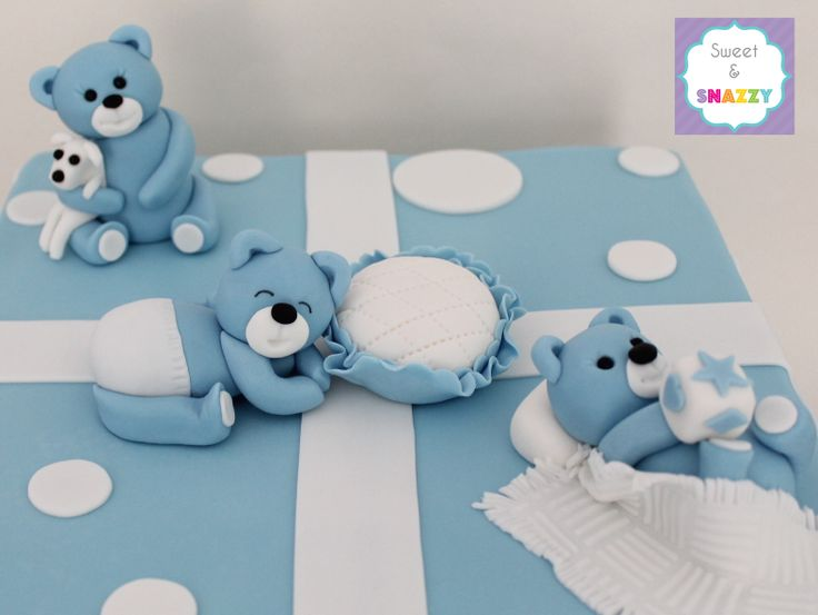 Christening Teddy Bear Cake Topper