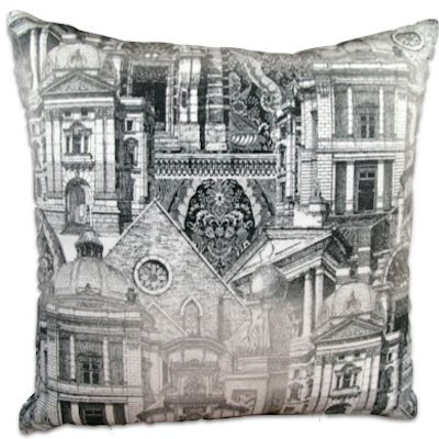 DAH Architectural Black and White Large from www.designarthouse.com.au.  Design Art House custom large cushion, made from imported spanish fabric, 70 percent cotton and 30 percent polyester.  Includes insert.   Dimensions: 65 x 65 cm
