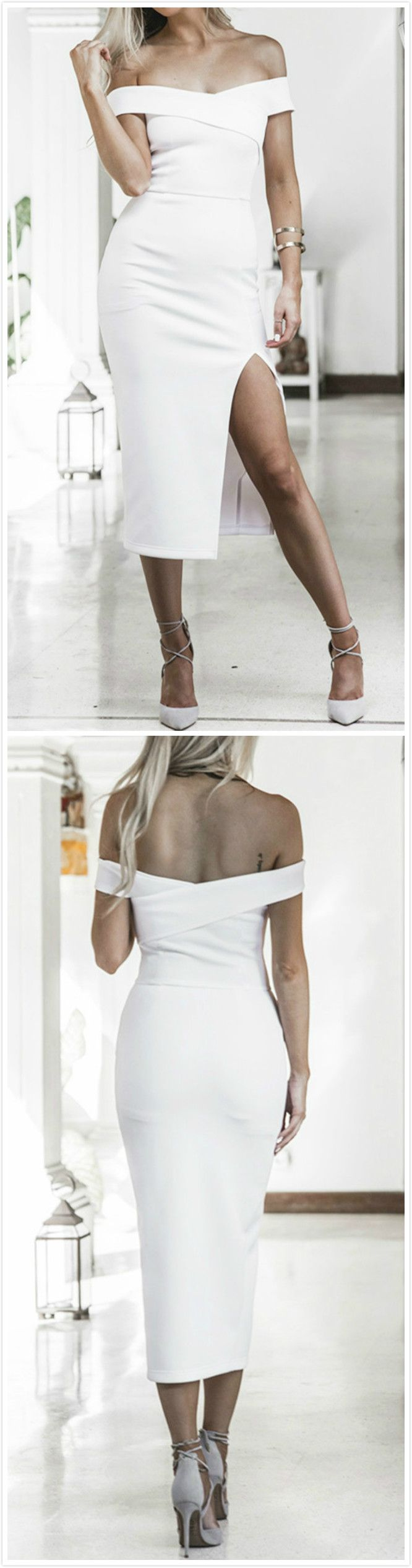 Women's off Shoulder High Slit Bodycon Midi Party Dress